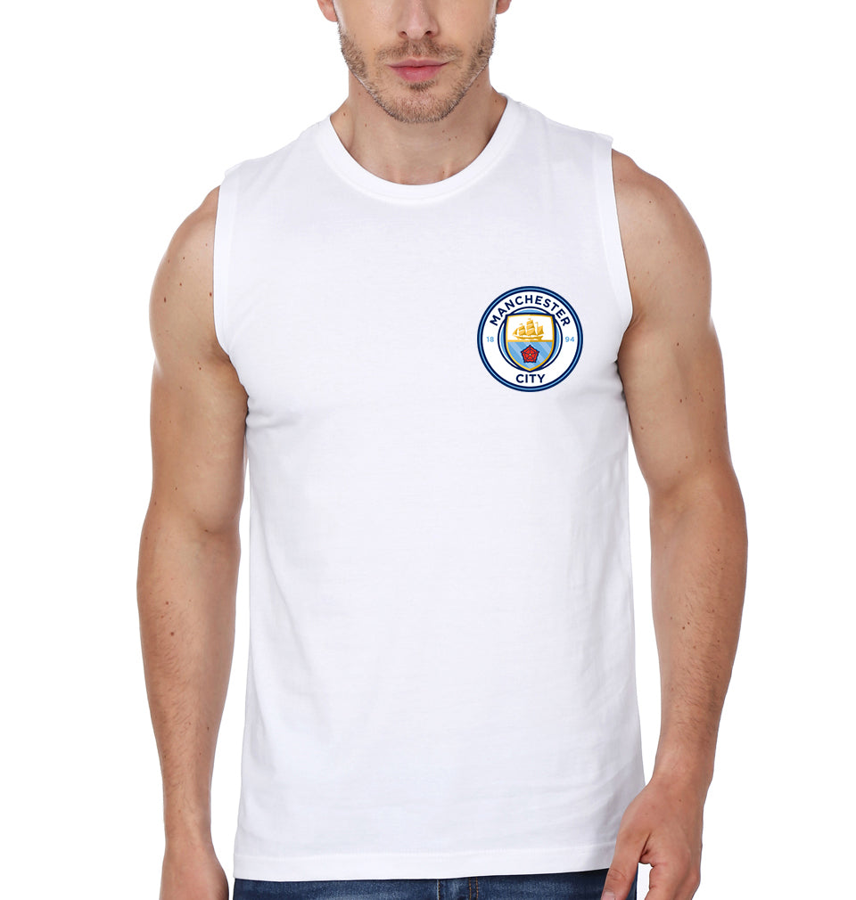 Manchester City Logo Sleeveless T-Shirt for Men