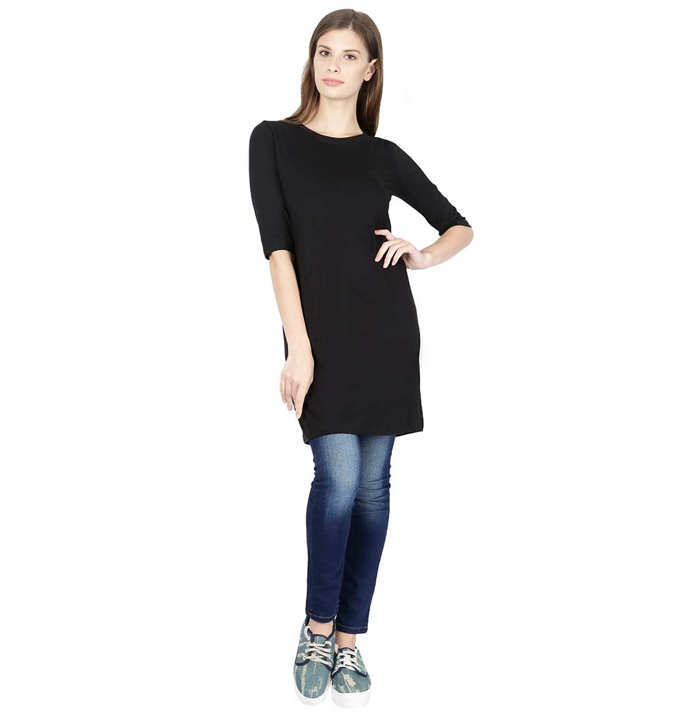 Plain Black Long Top for Women