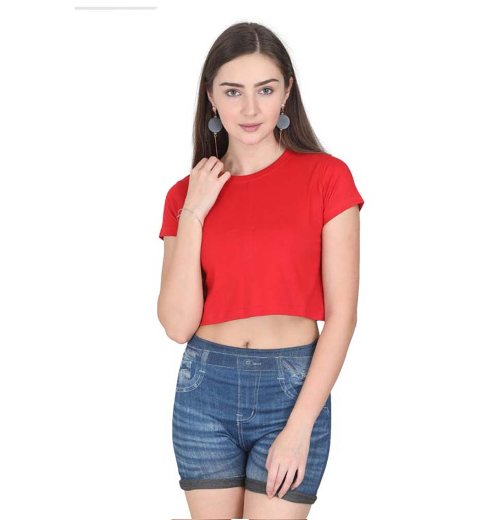 Plain Red Crop Top for Women