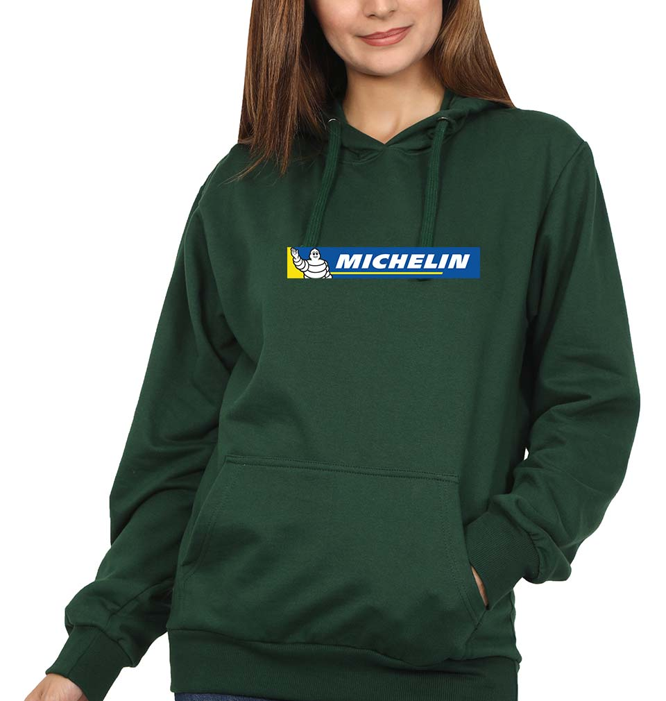 Michelin Hoodie for Women-S(40 Inches)-Bottle Green-ektarfa.com