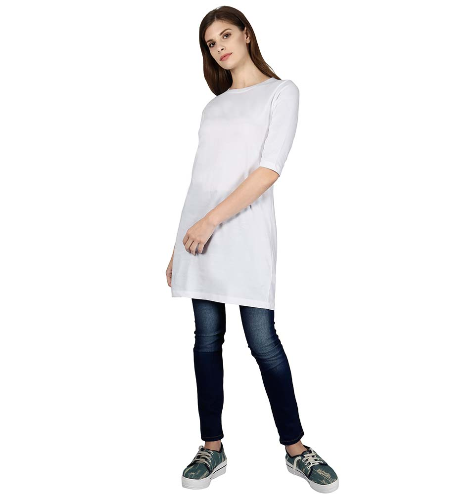 Plain White Long Top for Women