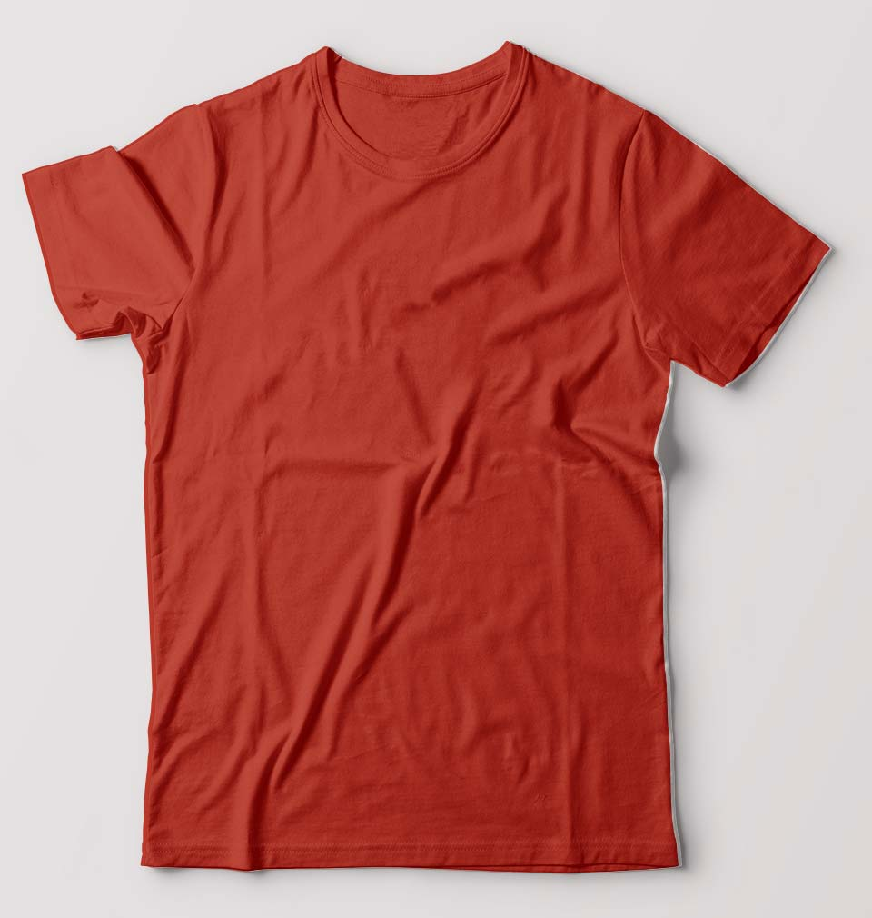 Plain Brick Red Half Sleeves T-Shirt For Men