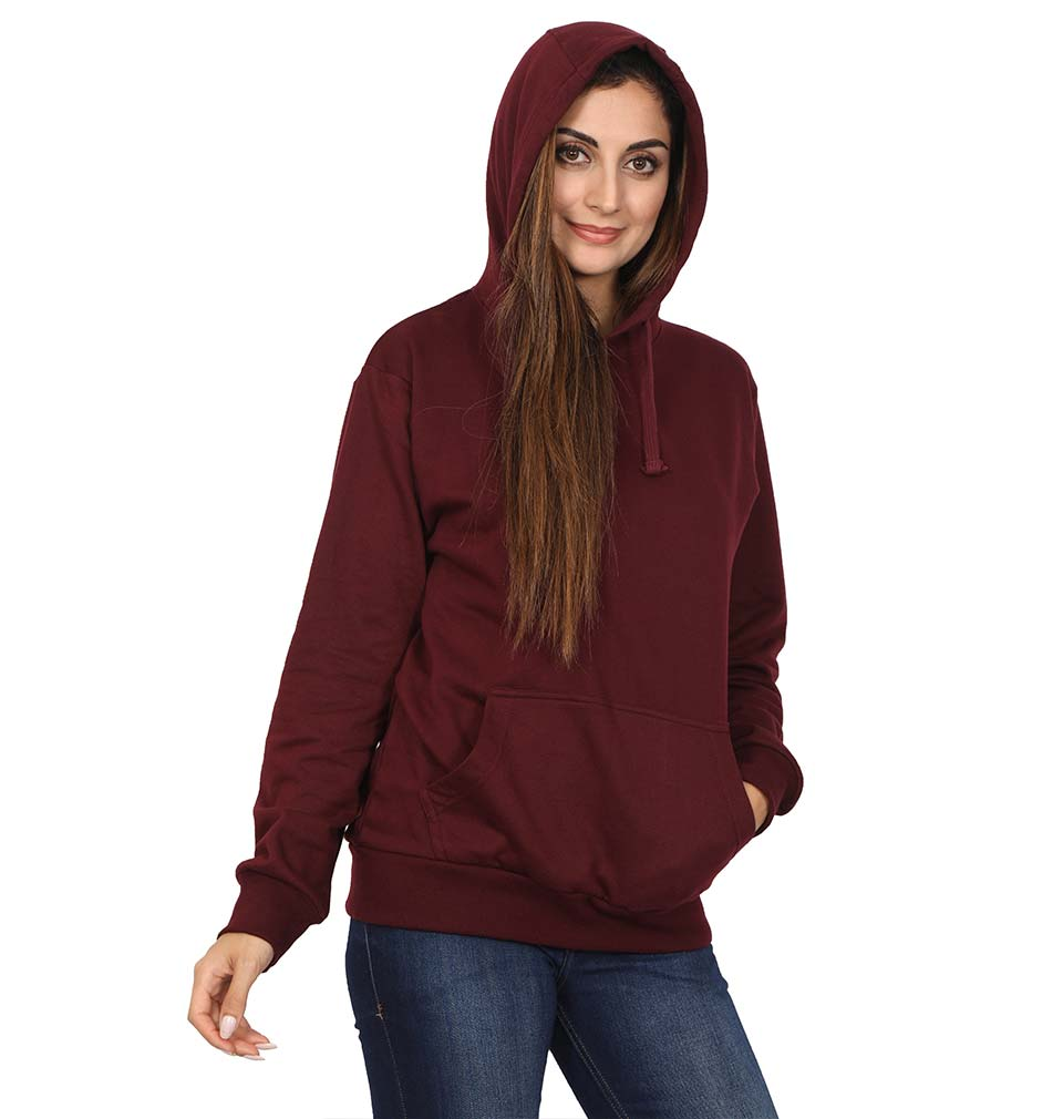 Plain Maroon Hoodie Sweatshirt for Women