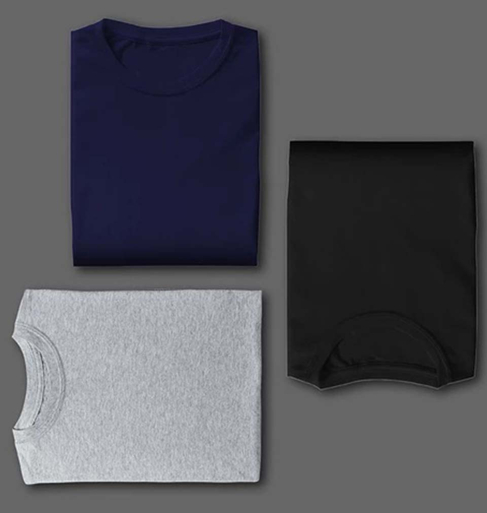 BLACK NAVY GREY COMBO HALF SLEEVE T-SHIRTS [PACK OF 3]