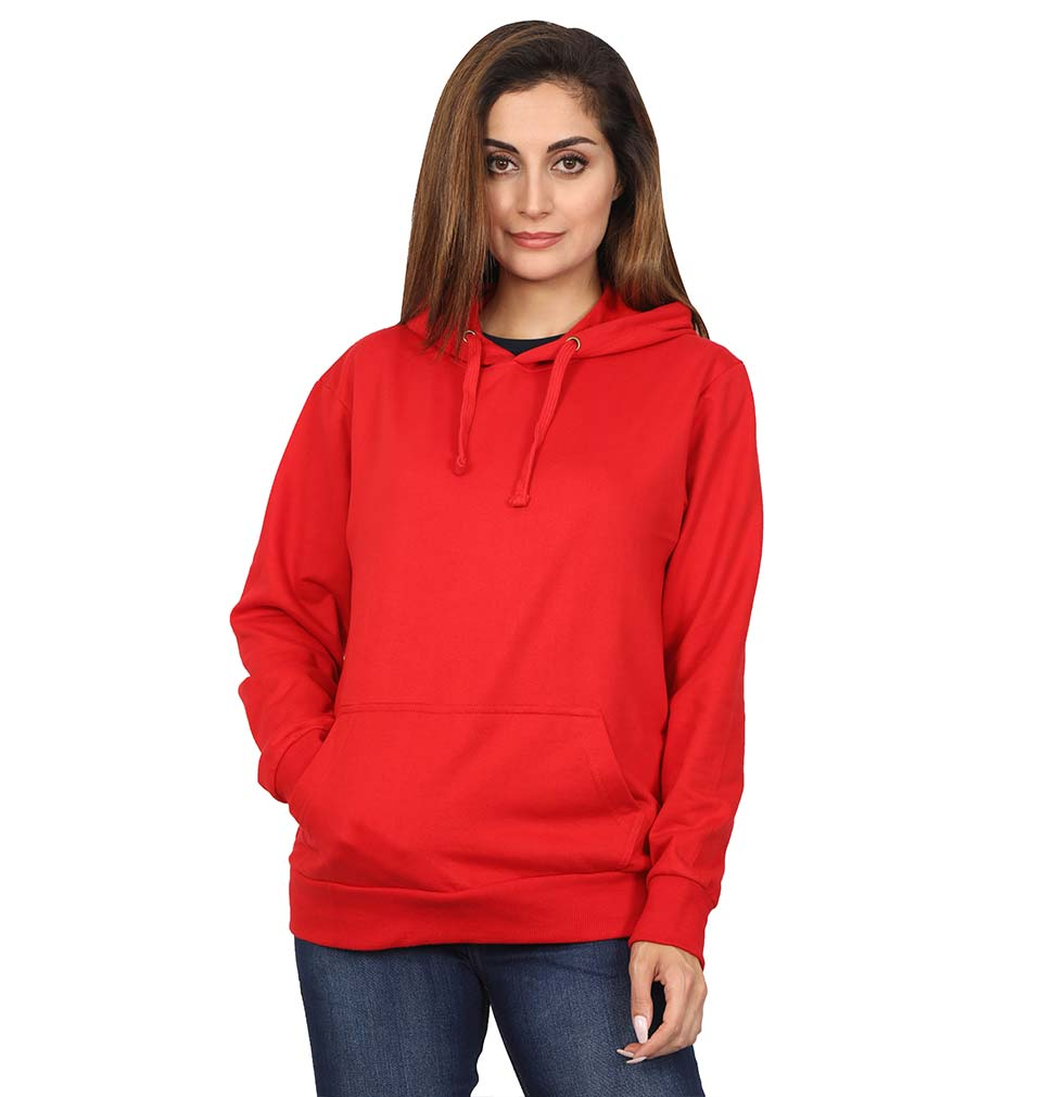 Plain Red Hoodie Sweatshirt for Women