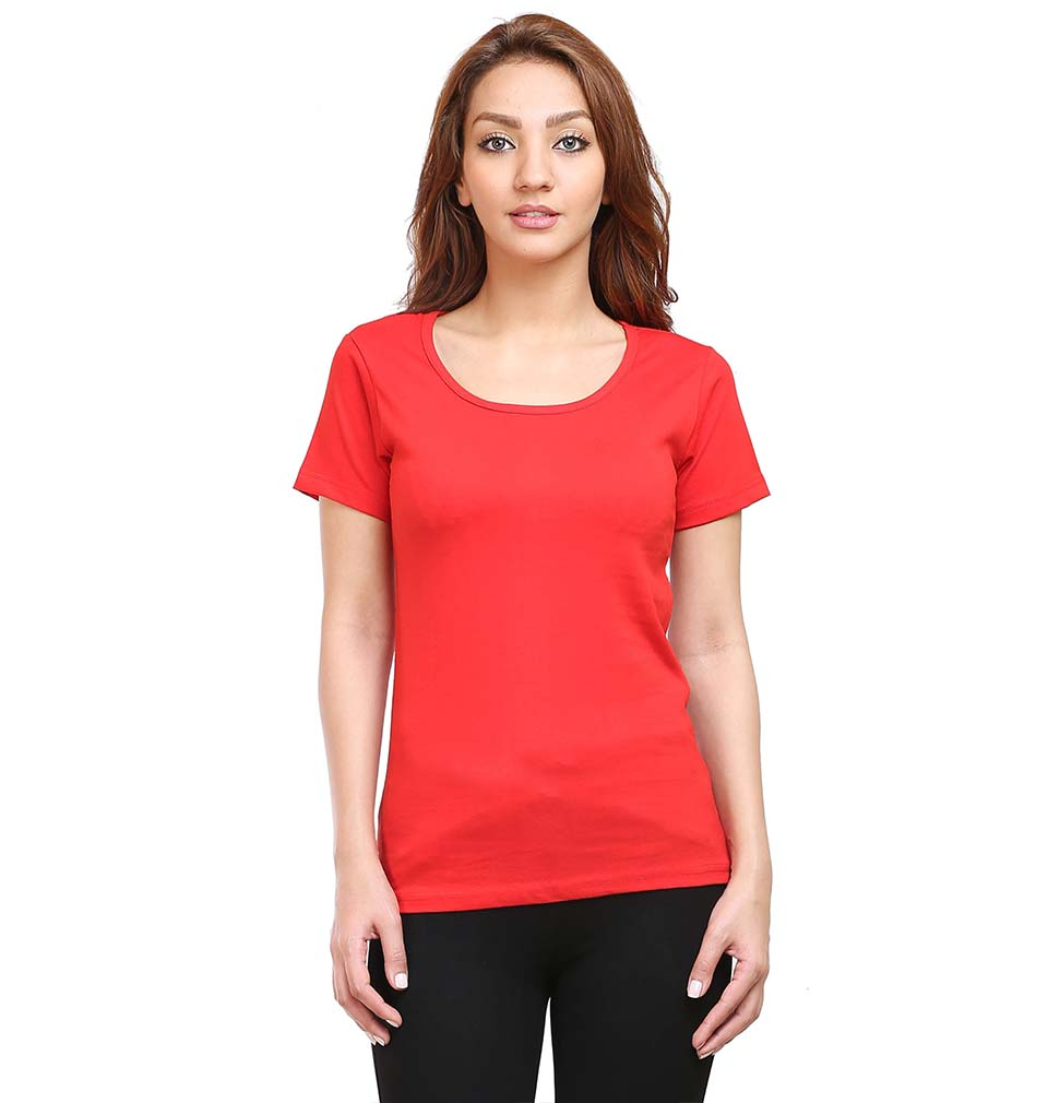Plain Red Half Sleeves T-Shirt for Women