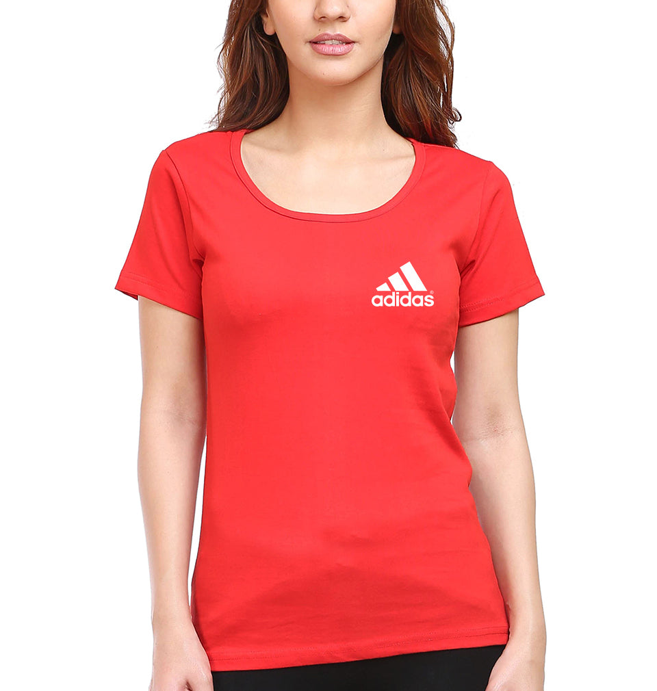 Adidas Logo T-Shirt for Women-XS(32 Inches)-Red-ektarfa.com