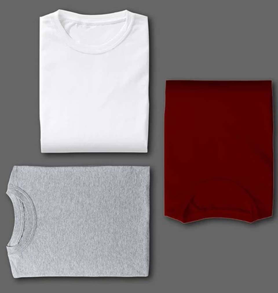 WHITE MAROON GREY COMBO HALF SLEEVE T-SHIRTS [PACK OF 3]