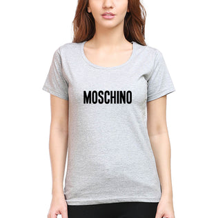 Moschino T-Shirt for Women-XS(32 Inches)-Grey Melange-ektarfa.com