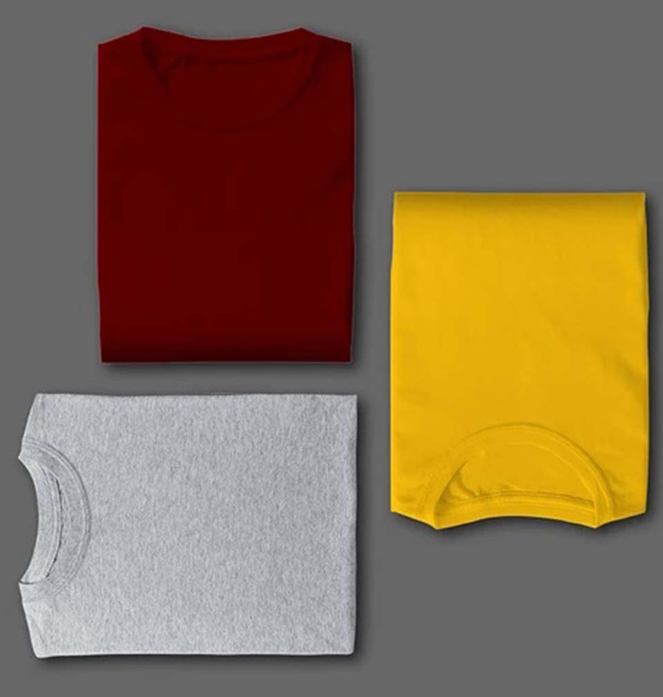 MAROON YELLOW GREY COMBO HALF SLEEVE T-SHIRTS [PACK OF 3]