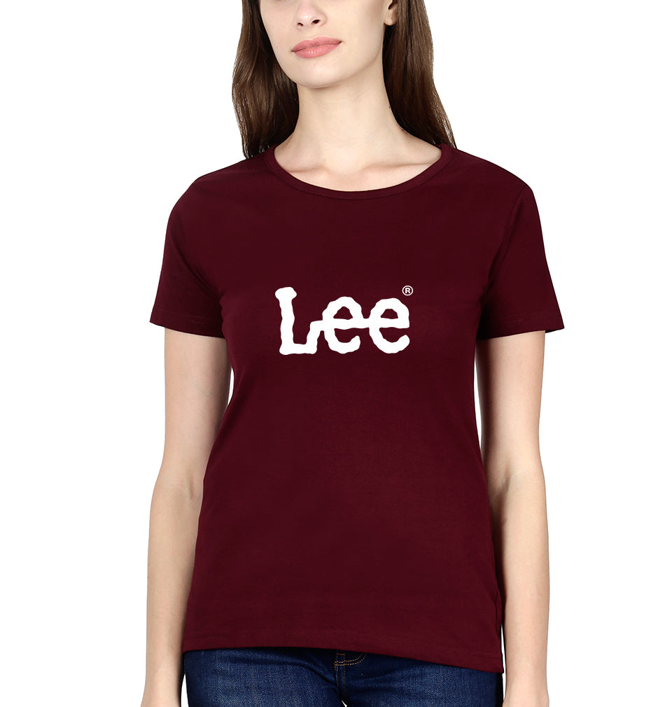 Lee T-Shirt for Women-XS(32 Inches)-Maroon-ektarfa.com