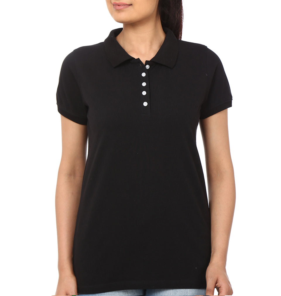 Plain Black Polo T-Shirt for Women