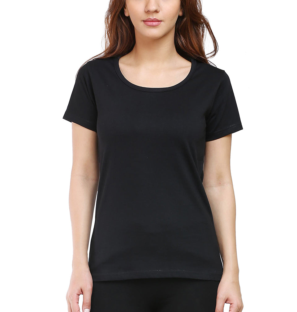 Plain Black Half Sleeves T-Shirt for Women