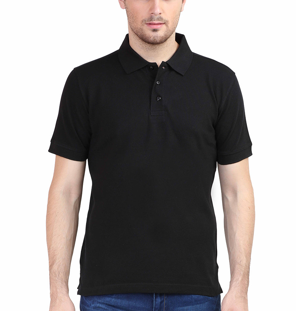 Plain Black Polo/Collar T-Shirt For Men