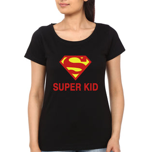 Super Kid Half Sleeves T-Shirt for Women-S(34 Inches)-Black-ektarfa.com