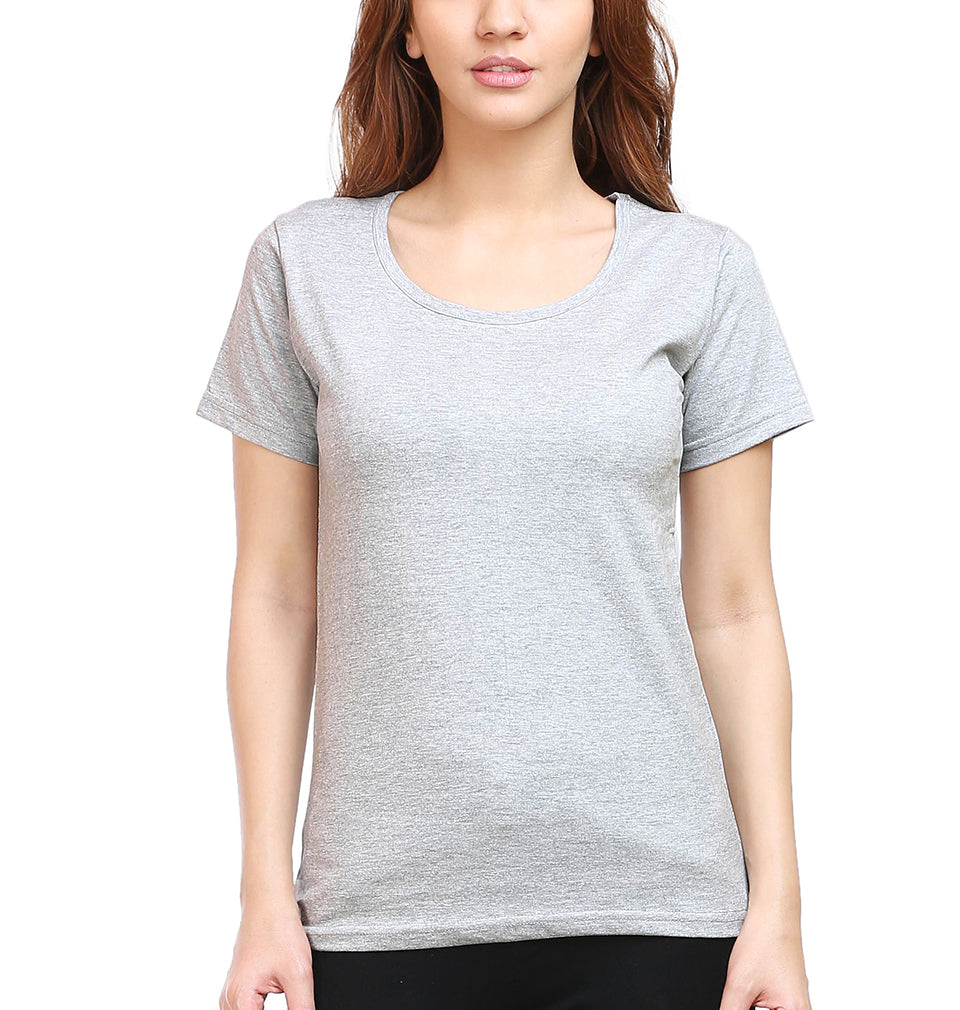 Plain Grey Melange Half Sleeves T-Shirt for Women