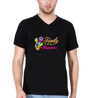 Family is the key of happiness V Neck T-Shirt for Men