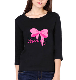 Beauty Full Sleeves T-Shirt for Women-S(34 Inches)-Black-ektarfa.com