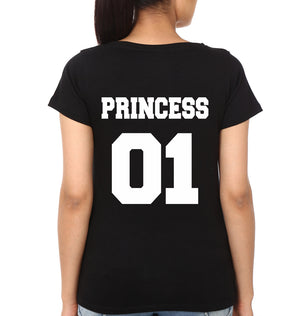 Princess Half Sleeves T-Shirt for Women-S(34 Inches)-Black-ektarfa.com