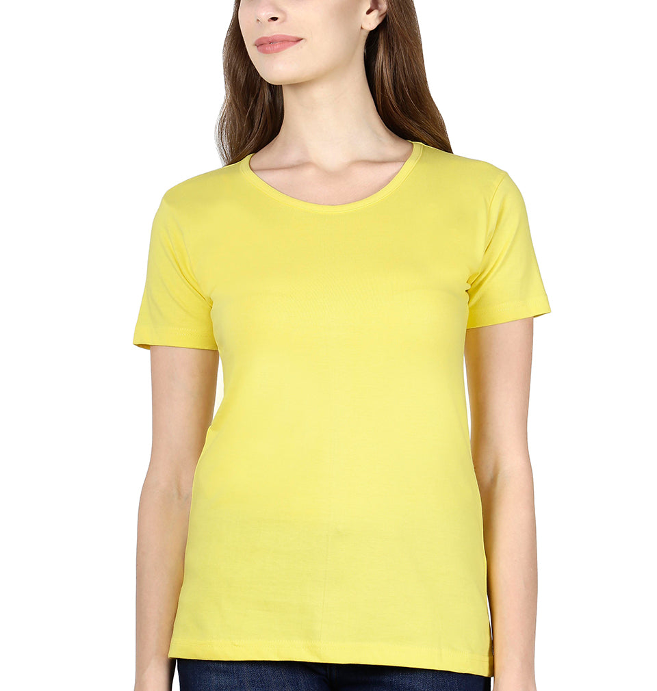 Plain Yellow Half Sleeves T-Shirt for Women
