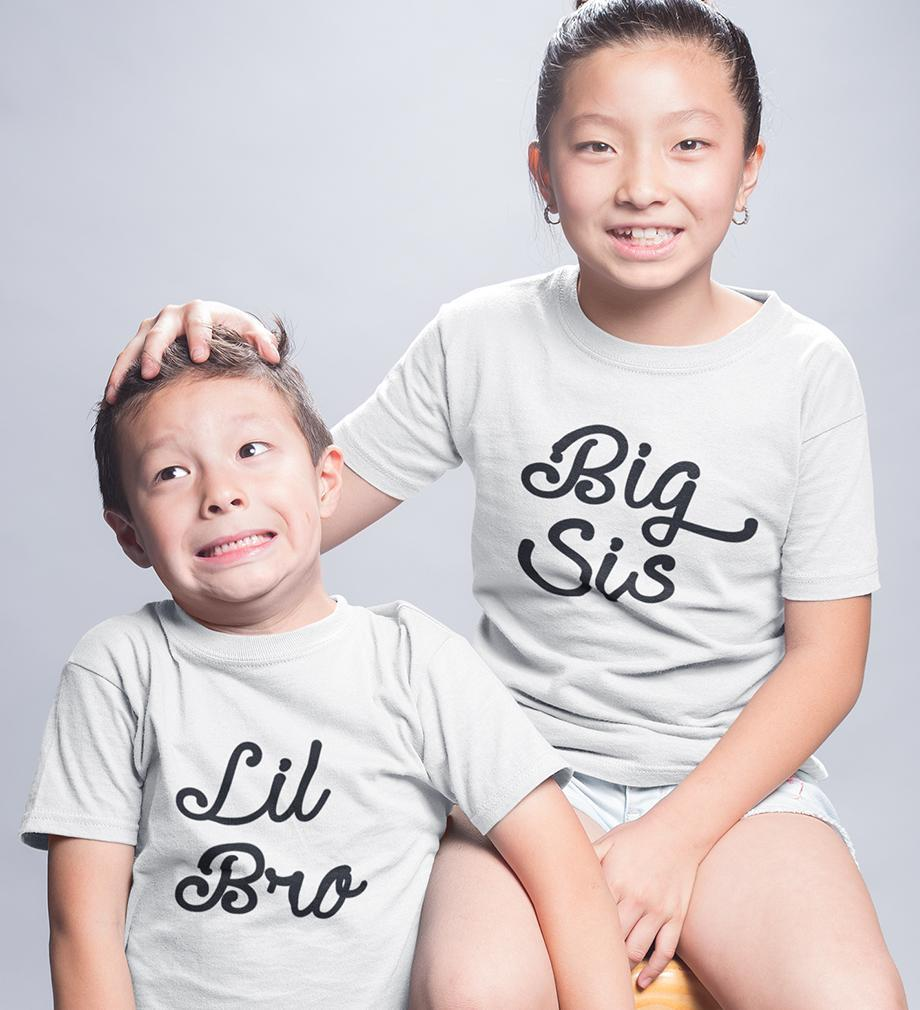 ektarfa.com @ Buy Best T-shirts Online in India Brother Sister T-Shirts Big Sis Lil Bro kid Brother Sister T Shirts