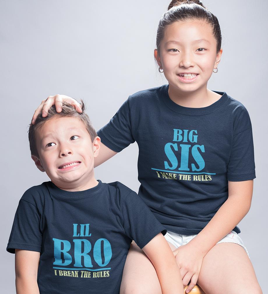 ektarfa.com @ Buy Best T-shirts Online in India Brother Sister T-Shirts Big sis Make The Rule Lil Bro Break the Rules kid Brother Sister T Shirts