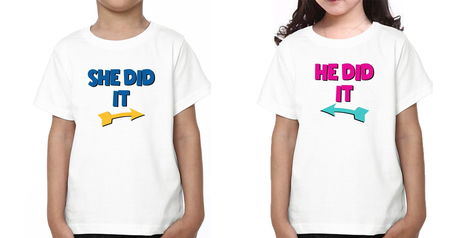 ektarfa.com @ Buy Best T-shirts Online in India Brother Sister T-Shirts He Did She Did kid Brother Sister T Shirts