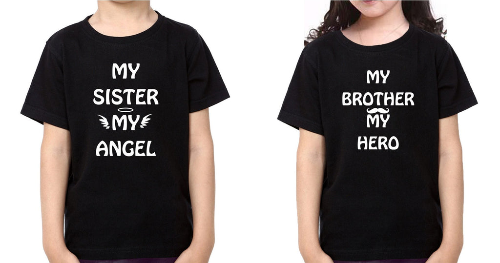 ektarfa.com @ Buy Best T-shirts Online in India Brother Sister T-Shirts My Sister My angel My Brother My hero kid Brother Sister T Shirts