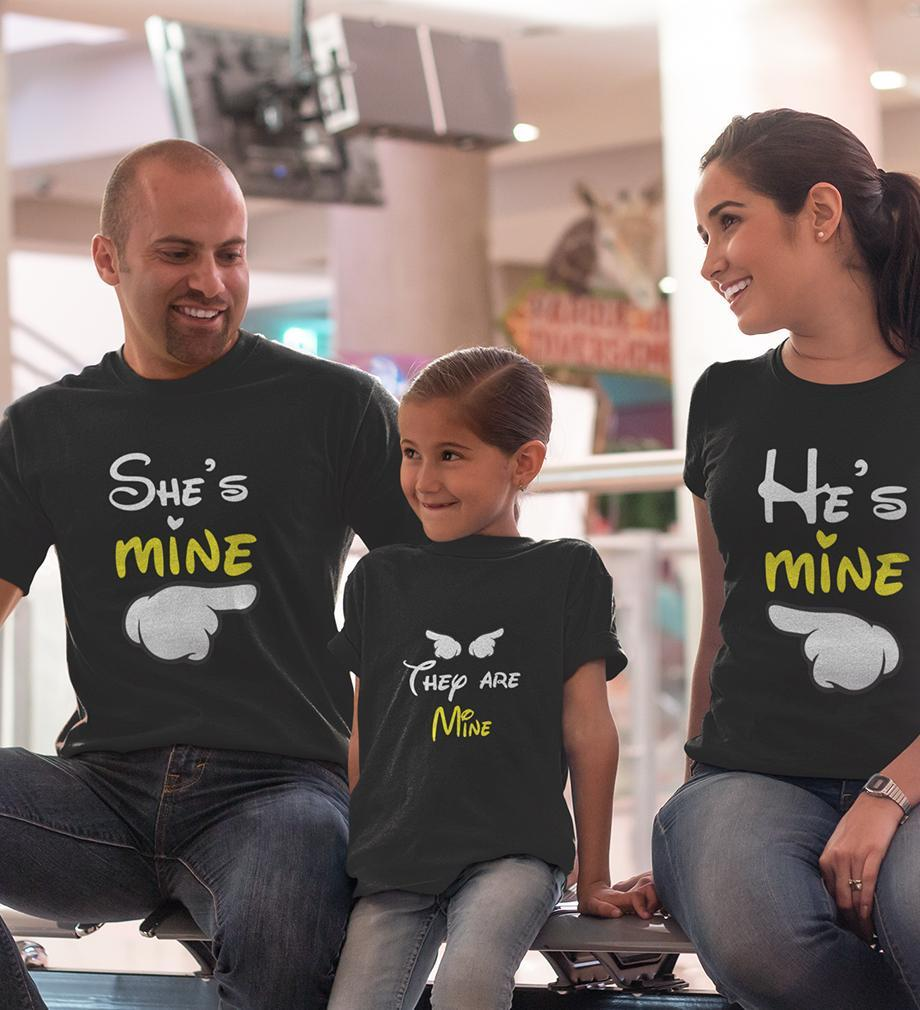 ektarfa.com @ Buy Best T-shirts Online in India Family T-Shirts He Is Mine She Is Mine They Are Mine Family T-Shirts