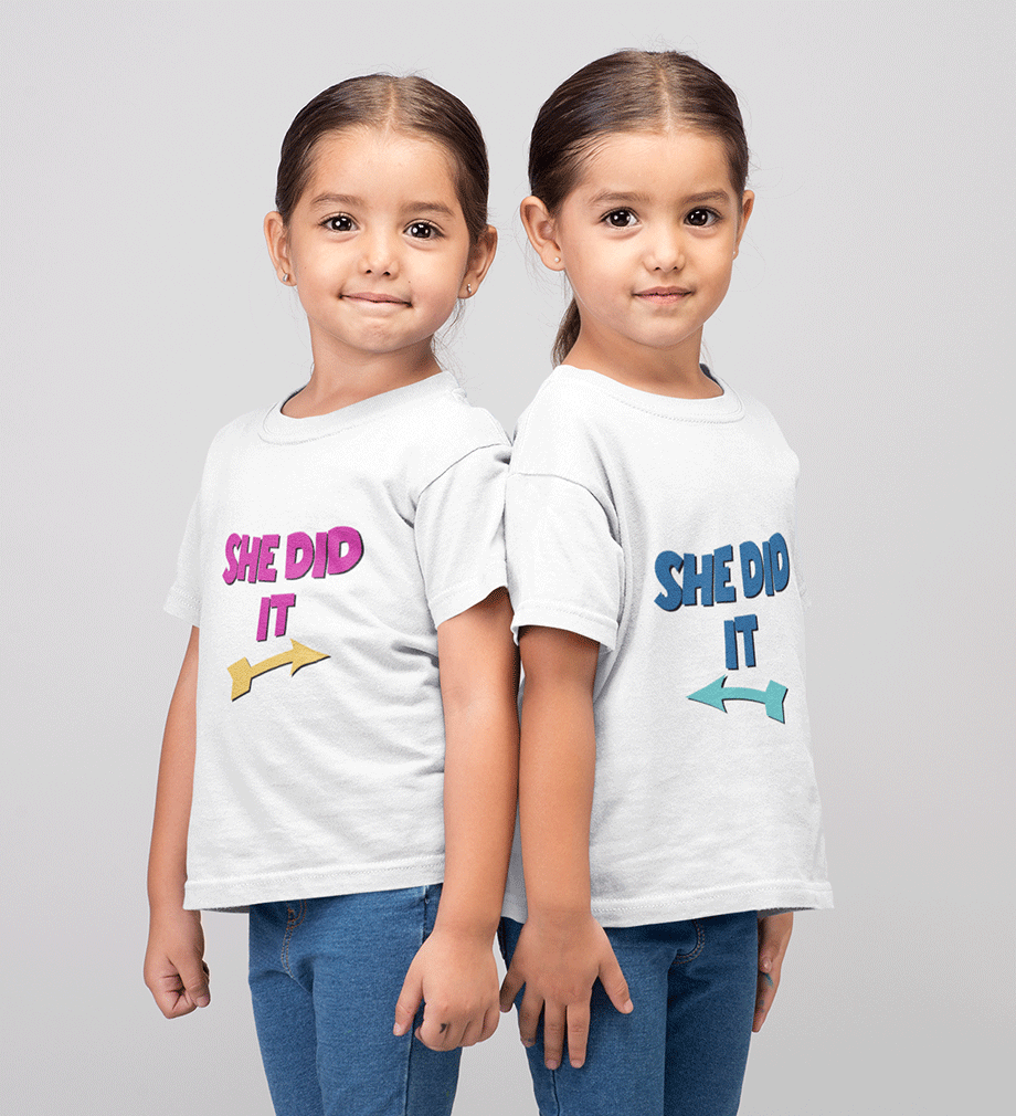 ektarfa.com @ Buy Best T-shirts Online in India Sister Sister T-Shirts She Did it