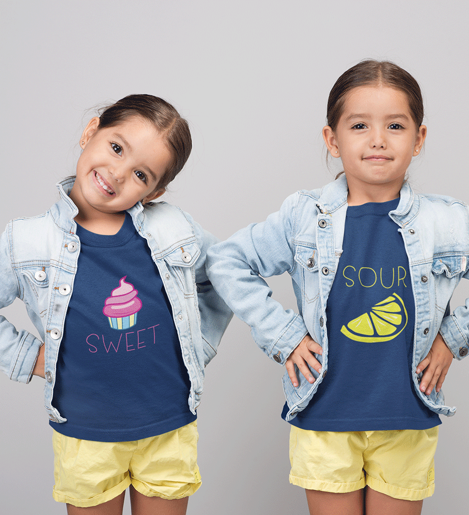 ektarfa.com @ Buy Best T-shirts Online in India Sister Sister T-Shirts Sweet Sour