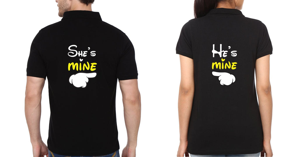 ektarfa.com Couple T-Shirts Back He is Mine She is Mine Couple Polo T-Shirts - Set of 2 Pcs.