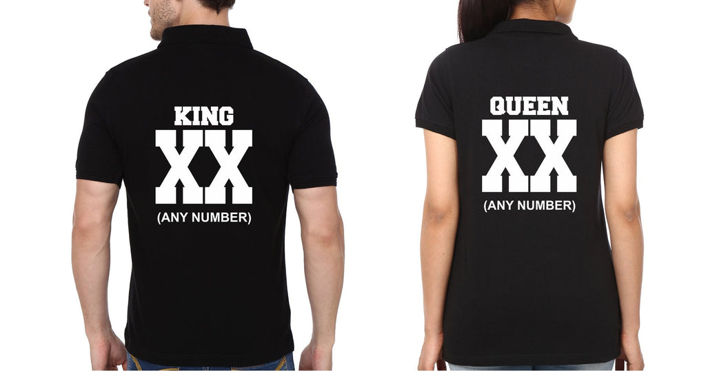 ektarfa.com Couple T-Shirts Back King Queen XX Couple Polo T-Shirts - Set of 2 Pcs.