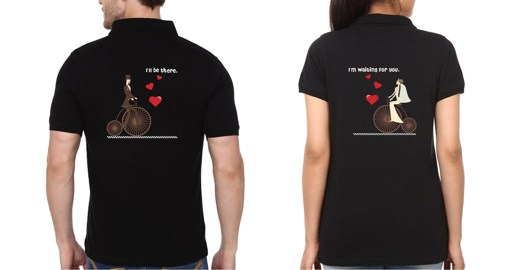 ektarfa.com Couple T-Shirts Back Waiting for you Couple Polo T-Shirts - Set of 2 Pcs.