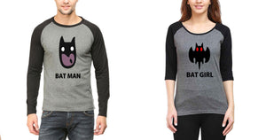ektarfa.com Couple T-Shirts Batman Batgirl Raglan Couple T Shirts - Set of 2 Pcs.