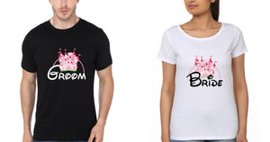 ektarfa.com Couple T-Shirts Groom Bride - Set of 2 Pcs.