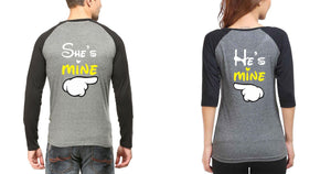 ektarfa.com Couple T-Shirts He is Mine and She is Mine Raglan Couple T Shirts - Set of 2 Pcs.