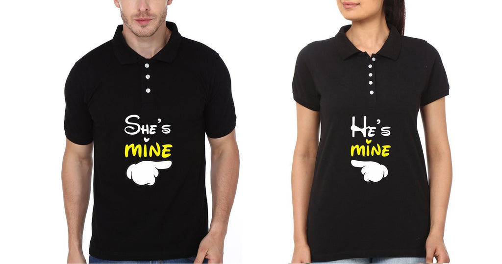 ektarfa.com Couple T-Shirts He is Mine She is Mine Couple Polo T-Shirts - Set of 2 Pcs.
