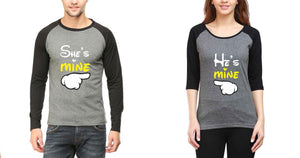 ektarfa.com Couple T-Shirts He is Mine She is Mine  Raglan Couple T Shirts - Set of 2 Pcs.