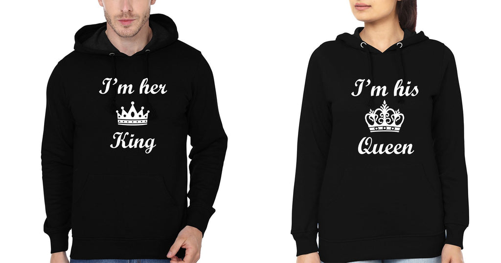 ektarfa.com Couple T-Shirts I'm Her King I'm His Queen Couple Hoodie - Set of 2 Pcs.