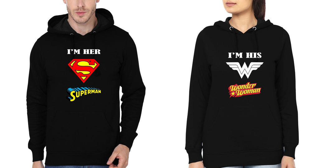 ektarfa.com Couple T-Shirts I'M Her Superman And I'M His Wonder Woman Couple Hoodie - Set of 2 Pcs.