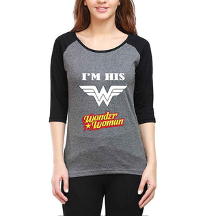 ektarfa.com Couple T-Shirts I'M Her Superman And I'M His Wonder Woman Raglan Couple T Shirts - Set of 2 Pcs.