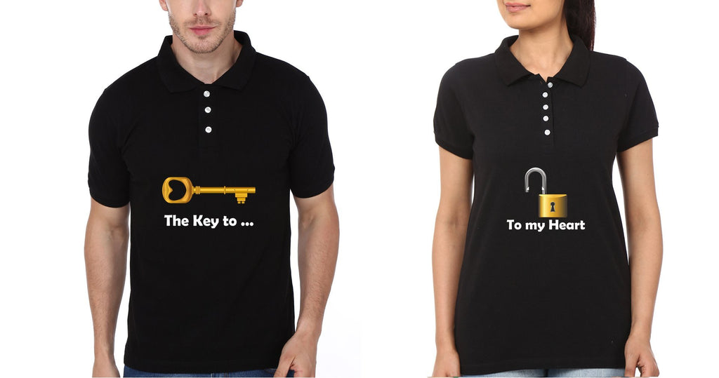 ektarfa.com Couple T-Shirts Key Lock Couple Polo T-Shirts - Set of 2 Pcs.