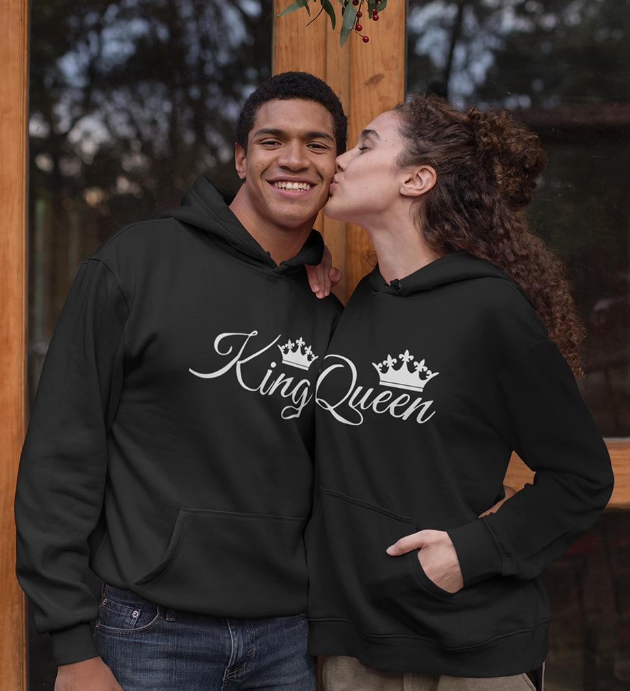 ektarfa.com Couple T-Shirts King Queen Couple Hoodie - Set of 2 Pcs.