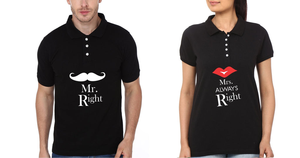 ektarfa.com Couple T-Shirts Mr.Right & Mrs. Always Right Couple Polo T-Shirts - Set of 2 Pcs.