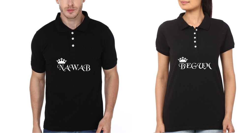 ektarfa.com Couple T-Shirts Nawab Begum Couple Polo T-Shirts - Set of 2 Pcs.