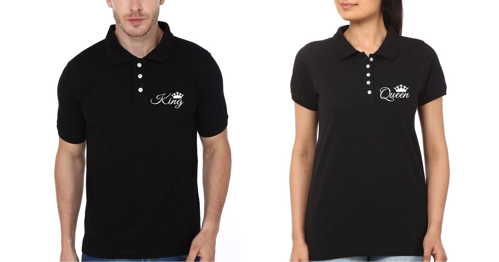 ektarfa.com Couple T-Shirts Pocket King Queen Couple Polo T-Shirts - Set of 2 Pcs.