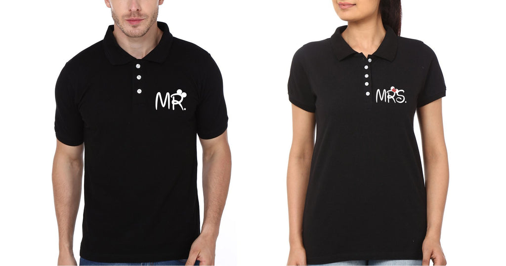 ektarfa.com Couple T-Shirts Pocket Mr. Mrs Couple Polo T-Shirts - Set of 2 Pcs.