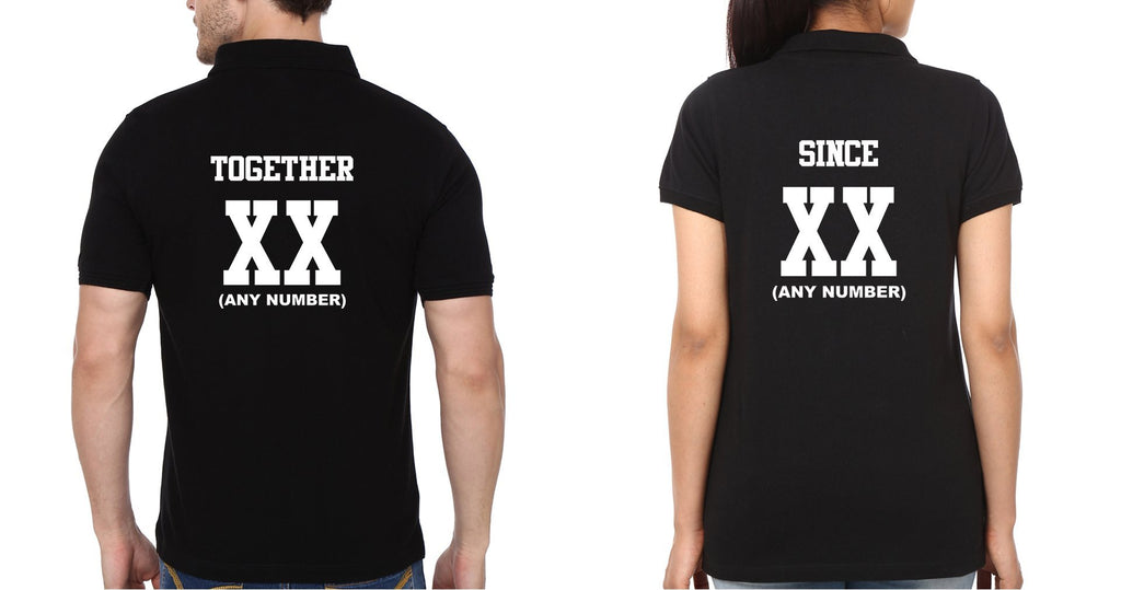 ektarfa.com Couple T-Shirts Together Since XX Couple Polo T-Shirts - Set of 2 Pcs.
