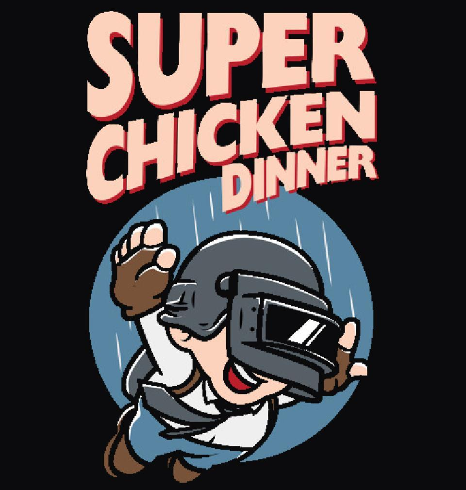 ektarfa.com Men Designs PUBG Super Chicken Dinner Black Men T Shirts & Hoodie